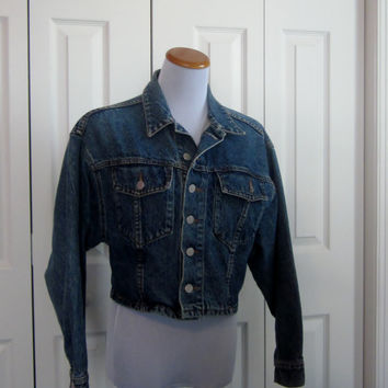 Vintage Denim Crop Jacket, Bongo Cropped Denim Jacket,  Short Jean Jacket Coat, Batwing Sleeves USA Womens Teens Small Medium Indie Grunge