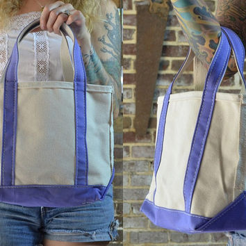 Vintage L.L. Bean Purple & White Canvas Field Tote Shopper Bag