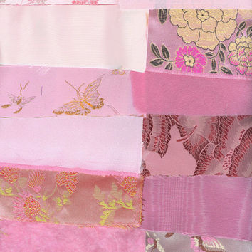 Victorian Crazy Quilt Kit Pinks Brocade Silk Velvet Moire Lace Trim Beads