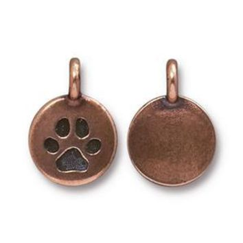 94-2420-18 - TierraCast Pewter Paw Charm, Antique Copper | Pkg 2
