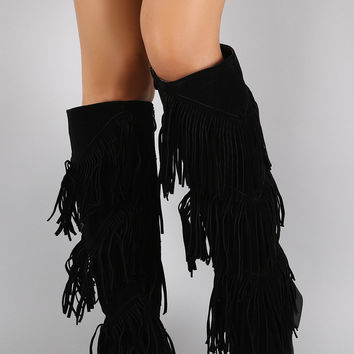 Suede Layered Fringe Round Toe Knee High Boots