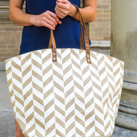 Natural Print Tote Chevron
