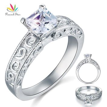 Peacock Star Solid 925 Sterling Silver Wedding Promise Engagement Ring 1 Carat Vintage Style Jewelry CFR8076