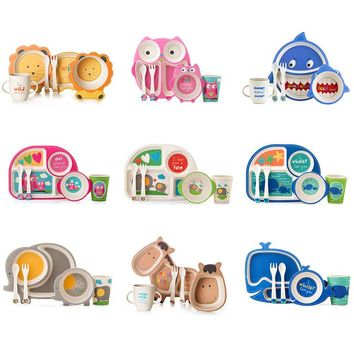 Bamboo Fiber Children's Tableware Set Baby Feeding Plate Set Bowl Cup Spoon Fork 5pcs/sets Cartoon Baby Dinnerware Kids Dishes
