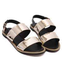 Gold Metallic Open Toe Sandals