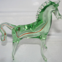 Vintage Glass Horse Figurine,Collectible Glass,Home decor,Horse