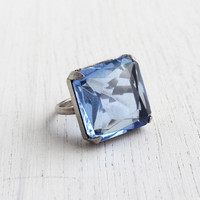 Vintage Sterling Silver Art Deco Blue Stone Ring - 1930s Large Glass Square Faceted Statement Jewelry / Prong Set Sky Blue