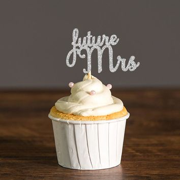 Future Mrs Cupcake Toppers Gold & Silver Glitter Wedding/Bridal Shower Decor Food Picks Party Favors Cake Decoration Supplies
