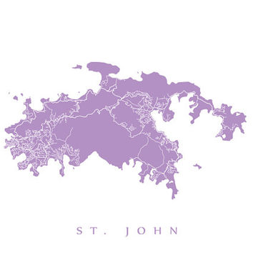 Saint John Map - U.S. Virgin Islands Poster - Choose color and size