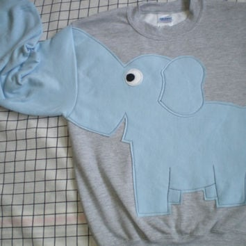 Kids elephant sweatshirt with light blue elephant. Elephant trunk sleeve. Small, medium, large, x large
