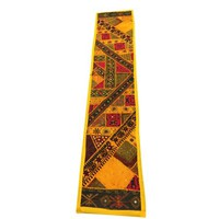 Mogul Table Cloth Yellow Mirror Work Embroidery Patchwork Table Throw Home Decor - Walmart.com