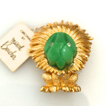 Marcel Boucher Tiny Lion Brooch, Green Lucite, Clear Rhinestones, 1960, Original Price Tag,