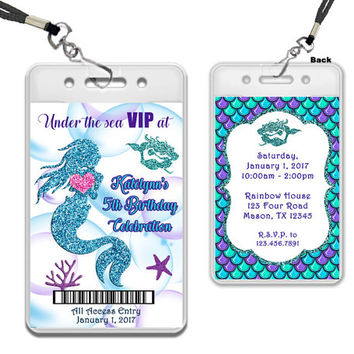 Mermaid VIP Pass Invitation - Under The Sea Birthday Party Invitations - Teal Purple Mermaid Invitations - Mermaid Birthday Invites - Girl