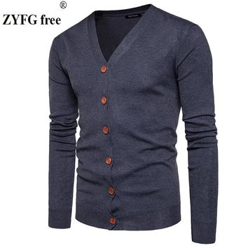 Men Button cardigans Sweaters New Casual Men solid Pullover V Collar Thick Cashmere sweater Outerwear Clothing EU/US size