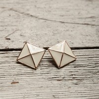 Stud Pyramid Earrings - Cream from Jewelry & Accessories at Lucky 21