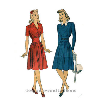 1940s Women's WWII Era Fit & Flare Day Shirtwaist Dress Frock Notched Collar Short Long Sleeves Bust 34 DuBarry 5391 Vintage Sewing Patterns