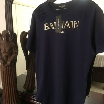 Balmain T Shirt '2XL' (Ribbed Shoulder & Sleeve Design)