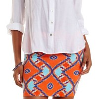 Orange Combo Aztec Print Bodycon Mini Skirt by Charlotte Russe