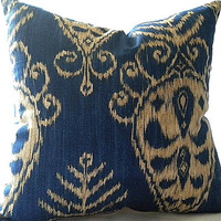 Ikat Print Sapphire Pillow Cover 20 x20, Large pillow cover