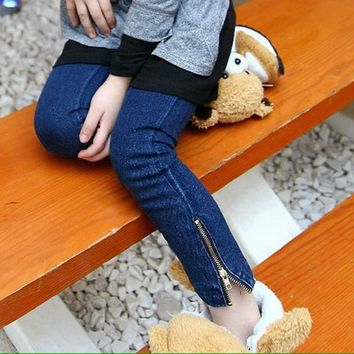 Girl Jeans 2017 New Deep Blue Color Children Jeans for Girls Fashion Skinny Spring Summer 2-7 Years Kids Trouser