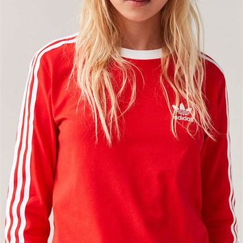 Charmvip | adidas Originals Red Three Stripe Long Sleeve Tee T-Shirt