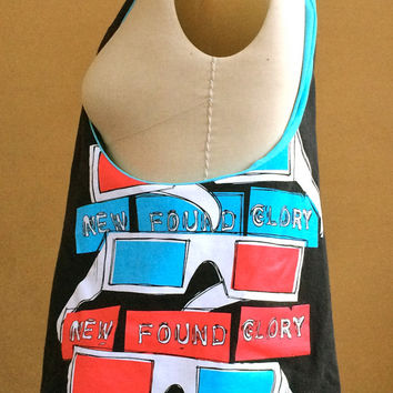 New Found Glory Bag Upcycled tshirt Purse Black, Red, White and Blue Hobo Handbag