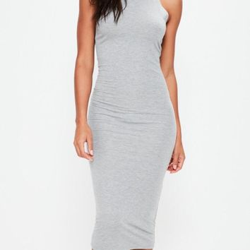 Racer Back Mock Turtleneck Bodycon Midi Dress