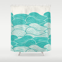 The Calm and Stormy Seas Shower Curtain by Pom Graphic Design