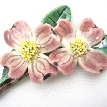 Vintage Dogwood Brooch - Pink Pottery Flower Costume Jewelry