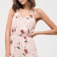 Sleeveless Floral Romper in Coral Multi