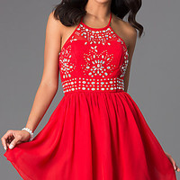 Short Red Halter Dress with Jewel Embellished Bodice