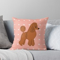 'Red Apricot Poodle with Peach Pink & Hearts' Throw Pillow by Abigail Davidson
