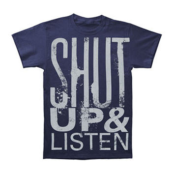Memphis May Fire Men's  Shut Up & Listen T-shirt Blue Rockabilia