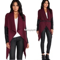New Women Wool Cardigan Sweater Loose Long Leather Sleeve Trench Coat Jacket ES9