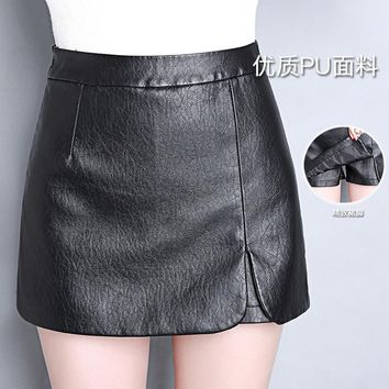 New 2016 Autumn Women Winter PU Leather Shorts Skirts Female Casual Mini Skirt Ladies Mid Waist Black Short Pants Plus Size 4XL
