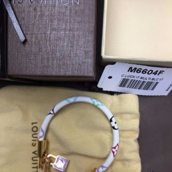 Authentic $375 Louis Vuitton Luck It Multicolor Bracelet Small 17 M6604F EUC