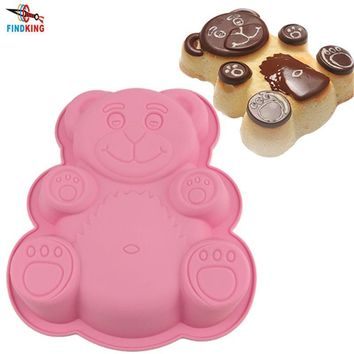 FINDKING 28.5*23.5*3.5cm 114g DlY Cartoon Bear Shape 3D Silicone Cake Mold Baking Tools Bakeware Maker Mold Tray Baking