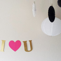 I love you banner, Gold glitter banner, I love u, Anniversary, Just because, Love banner, Special occasion,I heart you banner, Mothers day