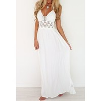 Wholesale Hollow Out Spliced Sexy Halter Maxi Dress For Women (WHITE,M), Maxi Dresses - Rosewholesale.com