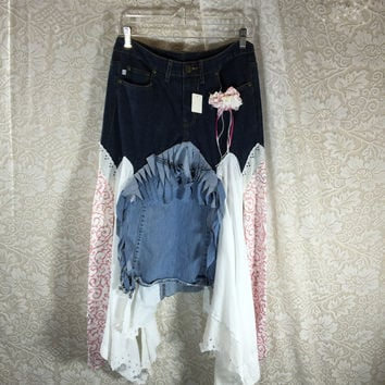 Size 6 Junk Gypsy Grunge Distressed Skirt  Festival Rustic  / Upcycled Shabby Chic Romantic Punk Prairie Gypsy Skirt /  By Tattered Fx