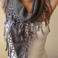 Gift - New Trendy Scarf - Valentine's Day - Pashmina Scarf in Gray with Trim Edge