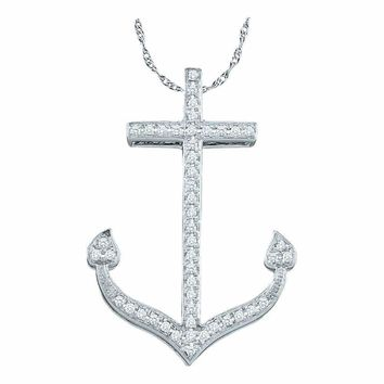10kt White Gold Women's Round Diamond Anchor Nautical Ocean Pendant 1-6 Cttw - FREE Shipping (US/CAN)