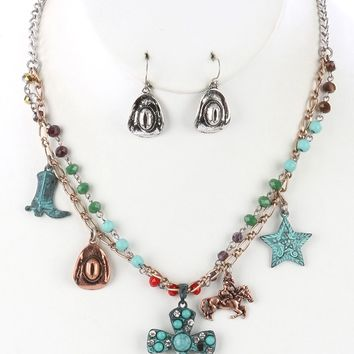 Aged Finish  Southwestern Style Charm Cross  Natural Stone Bead Iridescent Glass Bead Necklace Earring Set