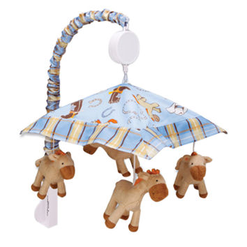 Trend Lab Baby Bedding Infant Cot Nursery Crib Decorative Cowboy Baby Musical Mobile Play Toy