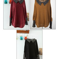 Peter Pan Collar Polka Dot Ladylike Style Acrylic Bat-Wing Sleeves Sweater For Women
