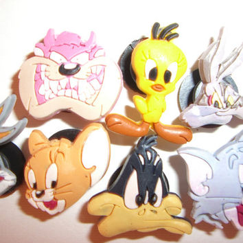 7 Bugs Bunny Cartoon Button Shoe Charms for Jibbitz bracelets or Crocs shoes