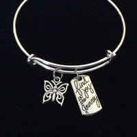 Find Joy in The Journey with Silver Butterfly Charm Adjustable Expandable Wire Bangle Bracelet Graduation Gift Trendy Stacking Graduation