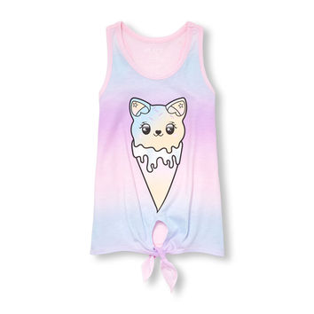 Girls Matchables Sleeveless Dip-Dye Graphic Tie-Front Tank Top | The Children's Place