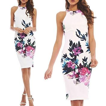 Women Dress Summer 2017 Chinese Style Retro Floral Elegant Dresses Slim Sleeveless Package Hip Party Dress