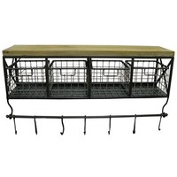 Black Metal & Wood Shelf with Baskets & 7-Hooks | Shop Hobby Lobby